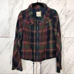 Forever 21 Plaid Zip Convertible Jacket SZ M